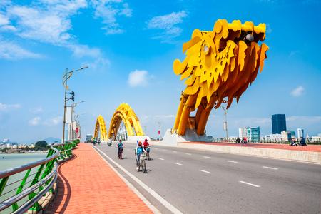 Photo for Danang Dragon bridge through Han river in Da Nang city in Vietnam - Royalty Free Image