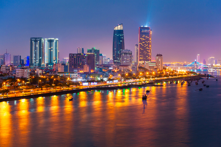 Photo for Da Nang city centre skyline aerial panoramic view. Danang is the fourth largest city in Vietnam. - Royalty Free Image