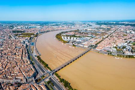 Photo pour Bordeaux aerial panoramic view. Bordeaux is a port city on the Garonne river in Southwestern France - image libre de droit