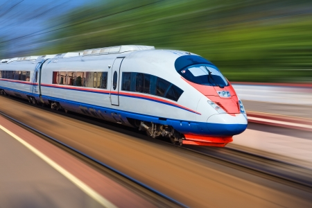 Photo for Beautiful photo of high speed modern commuter train, motion blur - Royalty Free Image