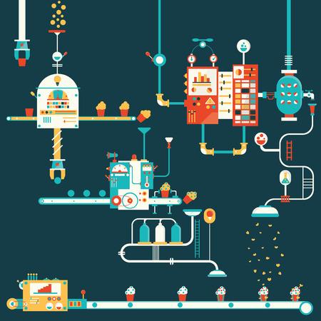 Ilustración de Cupcake factory infographics charts symbols graphic elements - Imagen libre de derechos