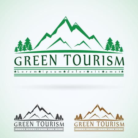 Illustration pour Mountains vintage vector logo design template, green tourism icon. - image libre de droit
