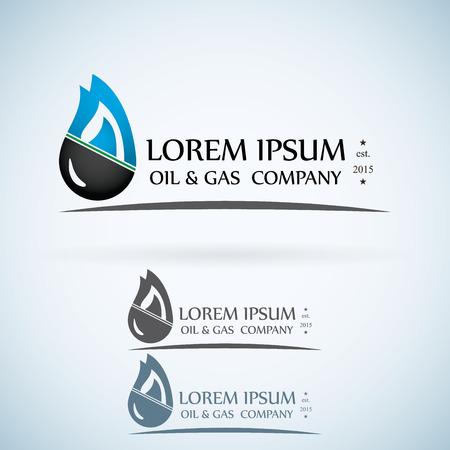 Illustration pour OIl gas company vector logo design template color set. fire oil drop with mountains abstractsymbol concept icon. - image libre de droit