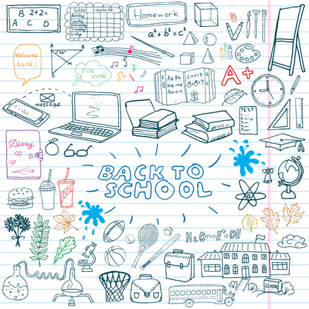 Foto de Back to School Supplies Sketchy Notebook Doodles set with Lettering, Hand-Drawn Vector Illustration Design Elements on Lined Sketchbook on chalkboard background. - Imagen libre de derechos