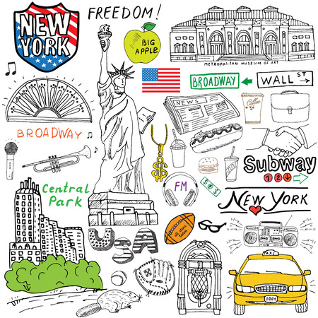 Illustration pour New York city doodles elements. Hand drawn set with, taxi, coffee, hotdog, statue of liberty, broadway, music, coffee, newspaper, museum, central park. Drawing doodle collection, isolated on white. - image libre de droit
