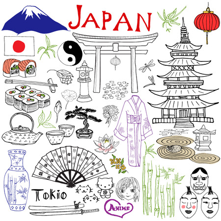 Ilustración de Japan doodles elements. Hand drawn set with Fujiyama mountain, Shinto gate, Japanese food sushi and tea set, fan, theater masks, katana, pagoda, kimono. Drawing doodle collection, isolated on white - Imagen libre de derechos