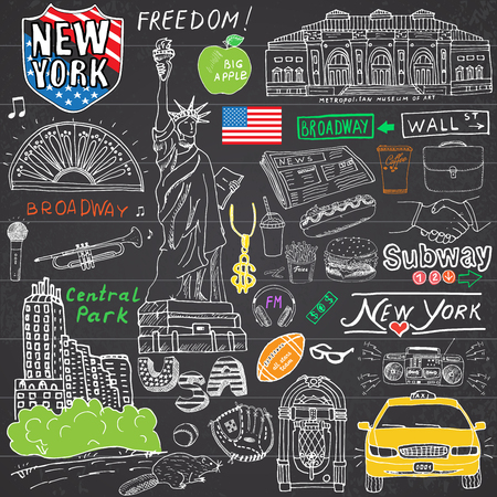 Illustration pour New York city doodles elements. Hand drawn set with, taxi, coffee, hotdog, statue of liberty, broadway, music, coffee, newspaper, museum, central park. Drawing doodle collection, on chalkboard. - image libre de droit