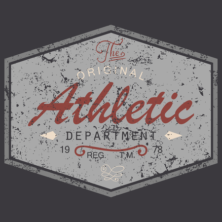 Illustration pour T-shirt Printing design, vintage style grunge textured, typography graphics, text original athletic department, vector illustration Badge Applique Label. - image libre de droit