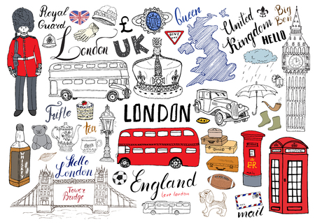 Illustration pour London city doodles elements collection. Hand drawn set with, tower bridge, crown, big ben, royal guard, red bus and cab, UK map and flag, tea pot, lettering, vector illustration isolated. - image libre de droit
