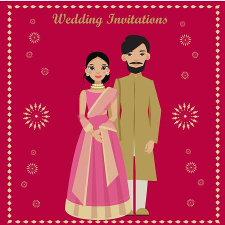 Photo pour indian couple in wedding invitations card. - image libre de droit