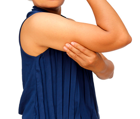 Photo pour Women with fat belly and big her arm. - image libre de droit