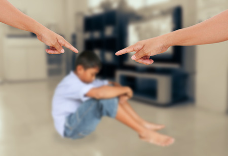 Photo for Negative emotion parent pointing at child ,teenage problem concept - Royalty Free Image