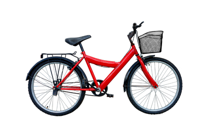 Red bicycle isolated on a white background.