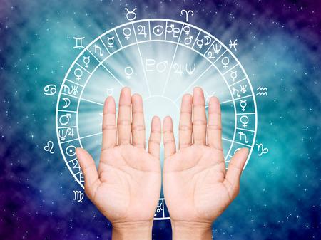 Foto de Two open hands empty ,the horoscope concept. - Imagen libre de derechos
