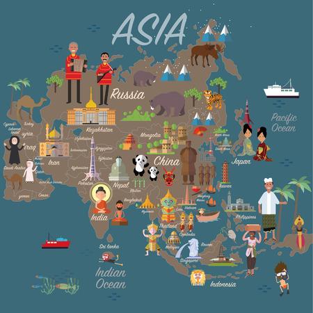 Illustration pour Asia map and travel - image libre de droit