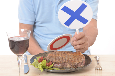 Photo pour Steak before YES NO placard - image libre de droit