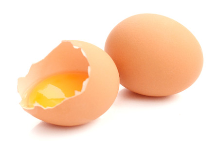 Photo for Fresh chicken eggs isolated on white background - Royalty Free Image