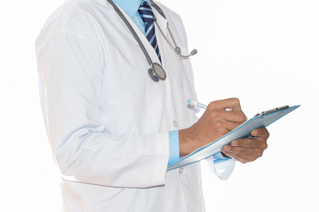 Photo pour Close up of patient and doctor taking notes. Man doctor concept in hospital. - image libre de droit