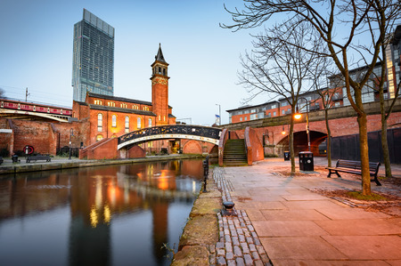Photo for Water way canal area in Manchester ,North west England - Royalty Free Image