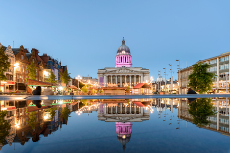 Photo for Nottingham Council House and a fountain front shot at Twilight - Royalty Free Image