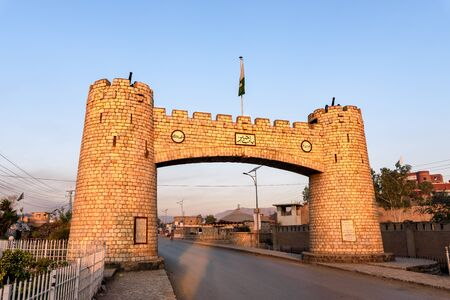 Photo pour Bab-e-Khyber is a monument which stands at the entrance of the Khyber Pass in the Federally Administered Tribal Areas of Pakistan. - image libre de droit