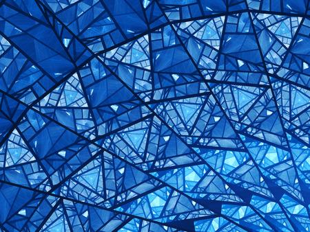 Foto de Blue glowing stained glass fractal, computer generated abstract background - Imagen libre de derechos