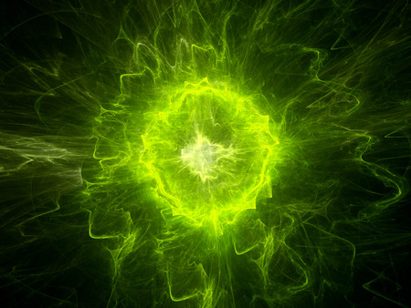 Photo pour Glowing green plasma energy, computer generated abstract background - image libre de droit