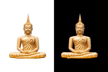 Foto de golden buddha on white and black background - Imagen libre de derechos