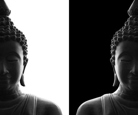 Foto de head of buddha on white and black background - Imagen libre de derechos