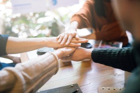 Foto de Hand of team stack hands support teamwork - Imagen libre de derechos