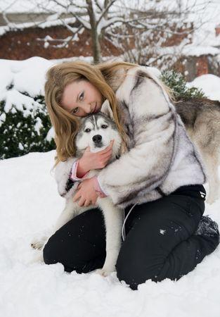 husky with girl