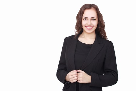 Foto de Young succesfull businesswoman in jacket on isolated background - Imagen libre de derechos