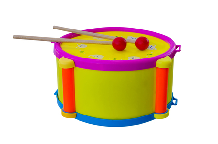 Photo for Drum with sticks children's musical instrument isolated on a background. - Royalty Free Image