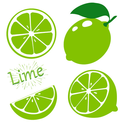 Illustration for Set slices of lime isolated on white background. Vector illustration. - Royalty Free Image