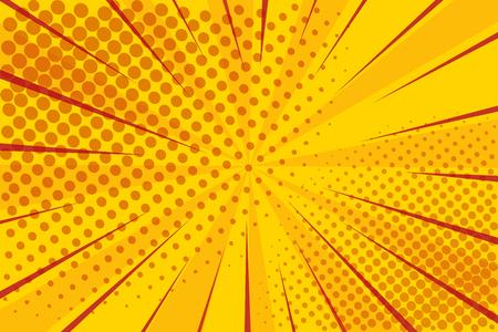 Illustration pour Pop art retro comic. Yellow background superhero. Lightning blast halftone dots. Cartoon vs. Vector - image libre de droit