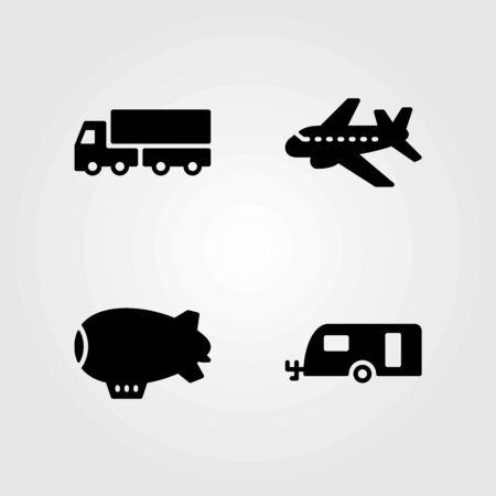 Illustration pour Transport vector icons set. zeppelin, caravan and lorry - image libre de droit
