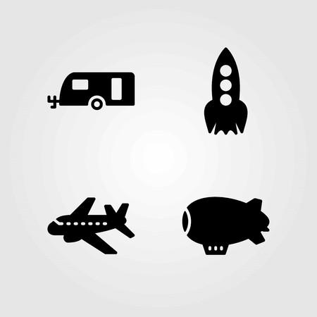 Illustration pour Transport vector icons set. aeroplane, rocket and zeppelin - image libre de droit