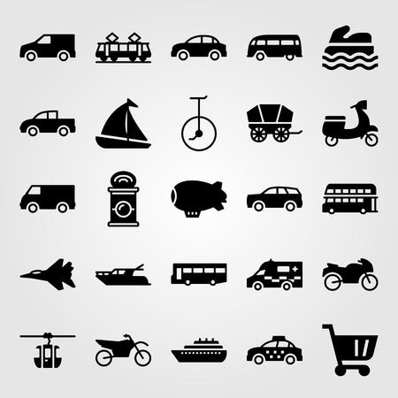 Illustration pour Transport vector icon set. Cart, tram, ambulance and yacht. - image libre de droit