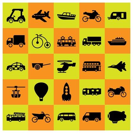 Illustration pour Transport icon set includes bicycle, lorry, cart and zeppelin. - image libre de droit