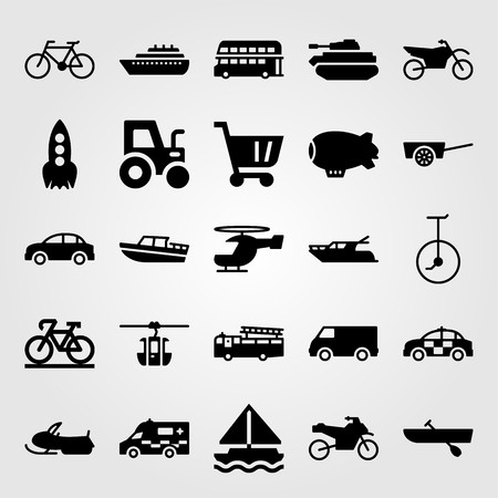 Illustration pour Transport vector icon set includes motorcycle, zeppelin, unicycle and fire truck. - image libre de droit