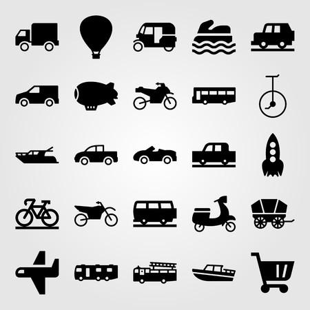 Illustration pour Transport vector icon set. yatch, car, sport bike and tuk tuk - image libre de droit