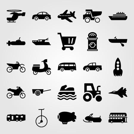 Illustration pour Transport vector icon set. Snowmobile, pickup truck, submarine and motorcycle. - image libre de droit