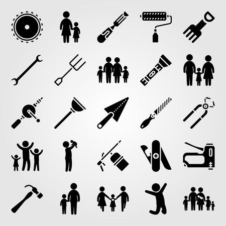 Ilustración de Tools icon set vector. Girl, staple gun, mom and pliers. - Imagen libre de derechos