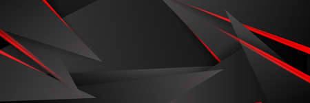 Modern tech design of black red abstract metallic carbon shiny color 3d background. Line red light with triangle shapes. Vector template for game and presentation