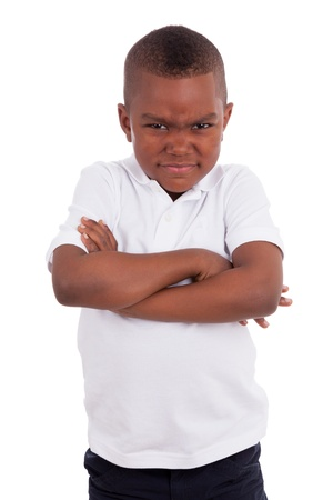 Portrait of a angry  african american little boy, isolated on white background