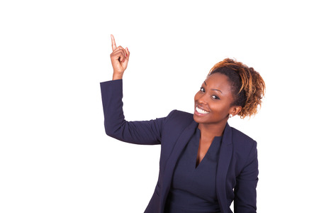 Photo pour African American business woman pointing something up - Black people - image libre de droit