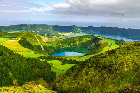 Photo pour View from Miradouro Boca do Inferno to Sete Citades, Azores, Portugal. travel concept - image libre de droit