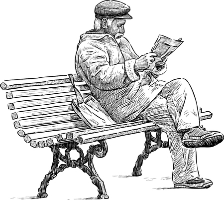 Ilustración de An old man reads a newspaper on the park bench - Imagen libre de derechos
