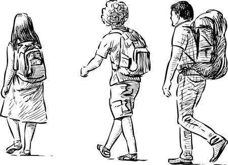 Illustration for Vector sketch of the tourists teenagers - Royalty Free Image