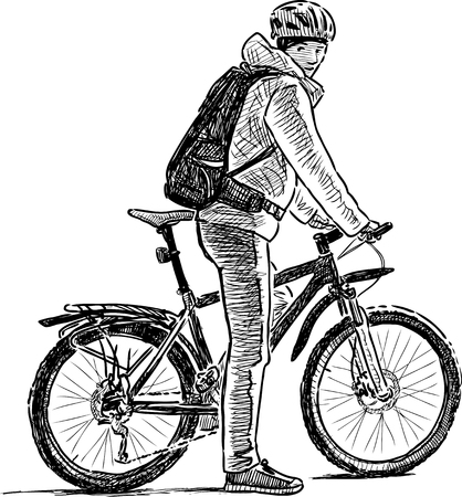 Illustrazione per City dweller on a bicycle - Immagini Royalty Free